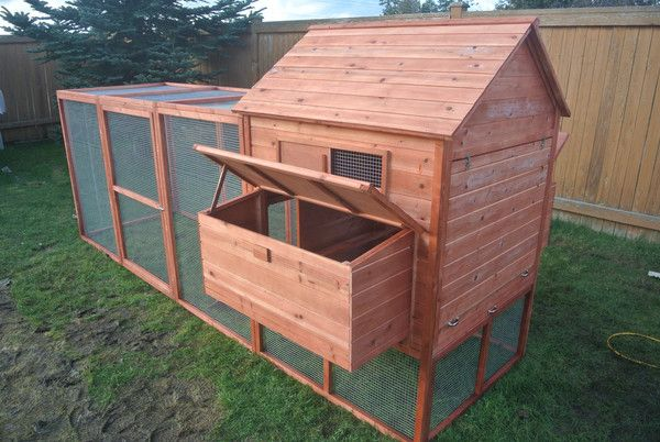 Red Barn, Dark Brown & Clear Stain is Pre-Order only. These will be available Middleof March!   Good for 12 hens.  Thank you.    ITEM DESCRIPTION: This high quality Large Deluxe Chicken coop is made from fully treated and grooved wood. It is coated with a water based preservative. It comes with sliding access pan, which makes easy to clean.   All solid fir wood. Slatted wood roof. 12' run area with door. 6 Nesting boxes included. Slide out Cleaning Tray. Strong Galvanized mesh meta...