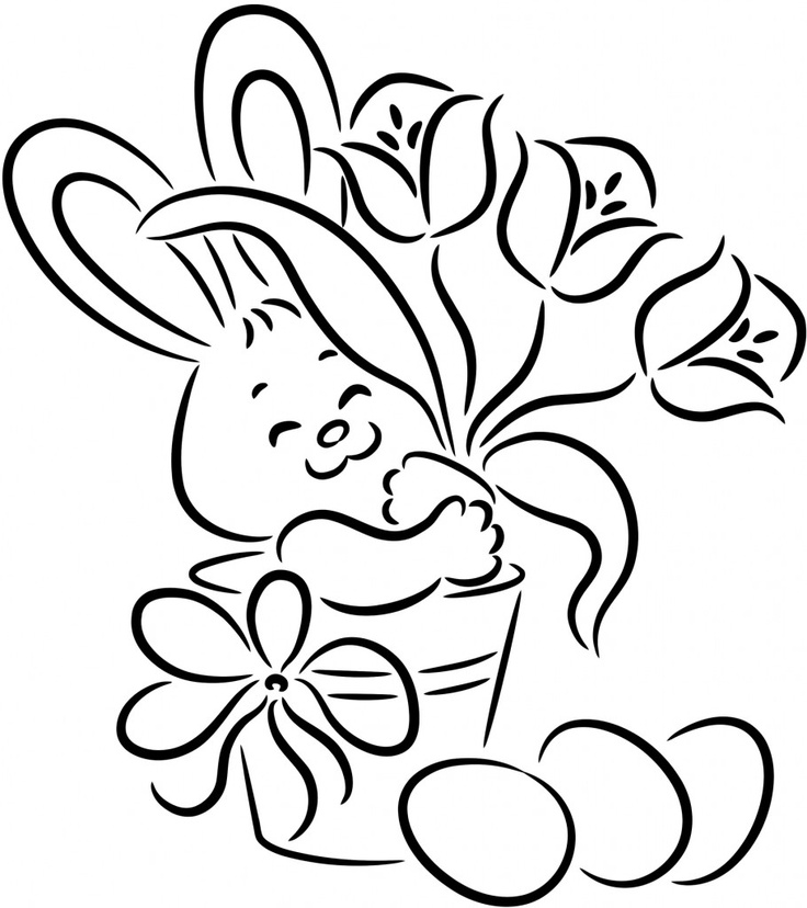 It's an Easter Bunny coloring page for children!    Grab your crayons and let's color.    While the children