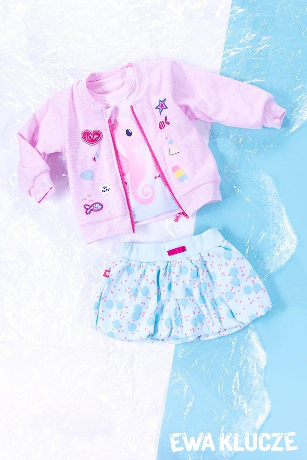 EWA KLUCZE, kolekcja SUMMER TIME, bluza dziewczęca, koszulka różowa, spódnica bombka, wiosna lato 2017, ubranka dla dzieci, EWA KLUCZE, SUMMER TIME collection, baby girl jacket, pink t-shirt, skirt, spring summer 2017