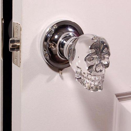 Glass skull door knobs