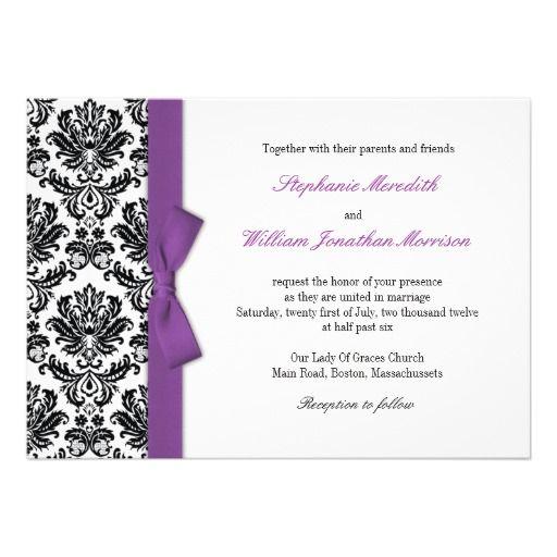 Purple Bow With Damask Wedding Invitation