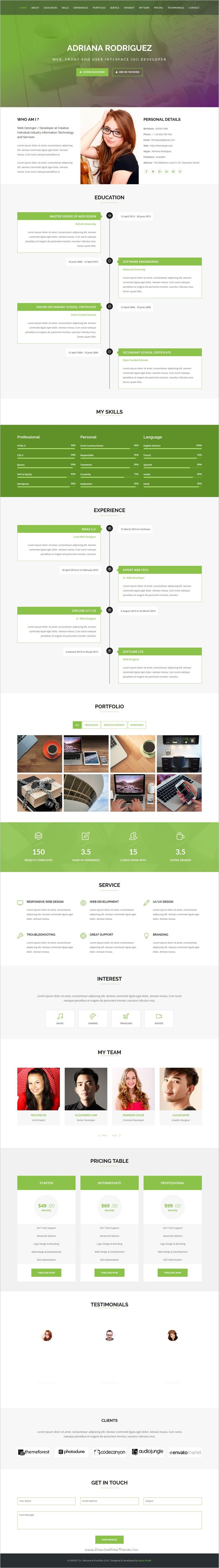 Expert is a one page responsive #HTML5 #Bootstrap template for online #CV, #Resume, vCard & Portfolio websites download now➩ https://themeforest.net/item/expert-cv-resume-portfolio/18927937?ref=Datasata