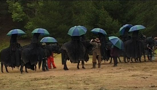 behind the scenes - Nazgul with umbrellas.
