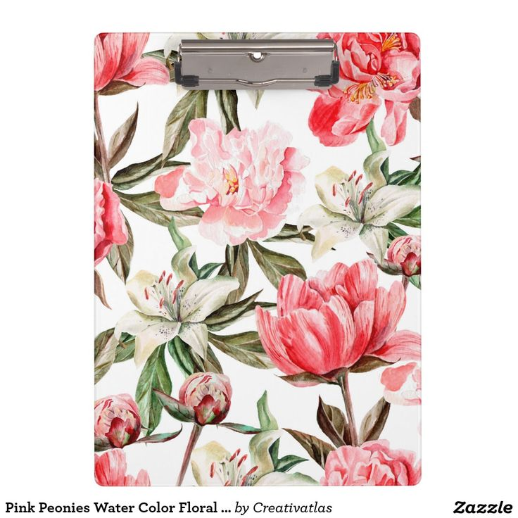 Clipboard | Pink Peonies Water Color Floral Illustration Clipboard | Office Supplies