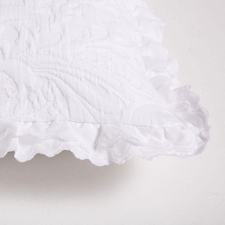 Federa da cuscino in cotone a fiori con doppio volant