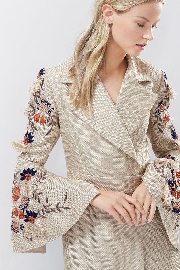 Josie Natori Straw Mixed Media Embroidered Trench Coat
