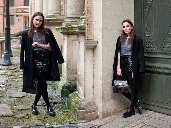 Get this look: http://lb.nu/look/7971918  More looks by Anna Puzova: http://lb.nu/practicalqueenap  Items in this look:  Capriola Coat, H&M Shirt, Next Top, Asos Skirt, Have2 Have Shoes, Vintage Bag   #casual #chic #street #practicalqueenap #riga #christmas #blackandwhite #sequins #beads
