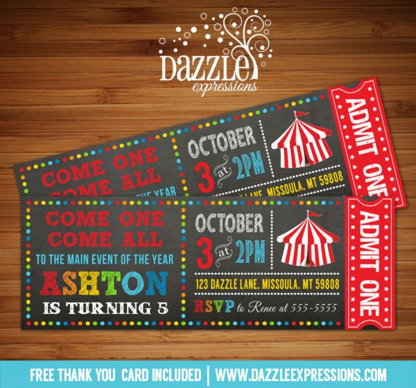 Printable Chalkboard Circus/Carnival Ticket Birthday Invitation | Kids Birthday Party Idea | Digital File | Backyard Carnival | FREE thank you card | Party Package Available | Banner | Cupcake Toppers | Favor Tag | Food and Drink Labels | Signs |  Candy Bar Wrapper | www.dazzleexpressions.com