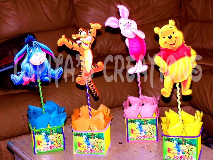 4 Pc Of Winnie The Pooh Centerpieces Baby Shower Ideas