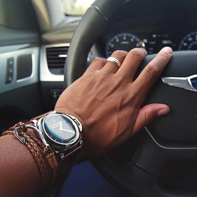 @steezygent keeping it classy behind the wheel in #TheWinston woven bracelet from @dappervigilante.  Buy today at bit.ly/DapperVigilante.  #DapperVigilante