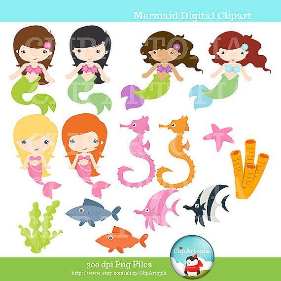 Cute mermaid digital clipart little mermaid by clipartopia high resolution printable on