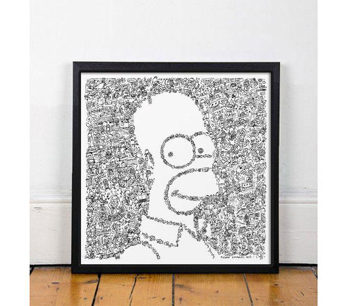 Digitaldruck - Homer Simpson -30 x 30cm - Kunst poster druck - ein Designerstück von Drawinside bei DaWanda