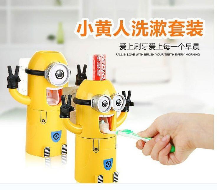 Миньоны мыть платье творческий пять кресла для мытья пыли стены зубных щеток присоске зубных щеток зубы с зубной пастой ложе купить на AliExpress