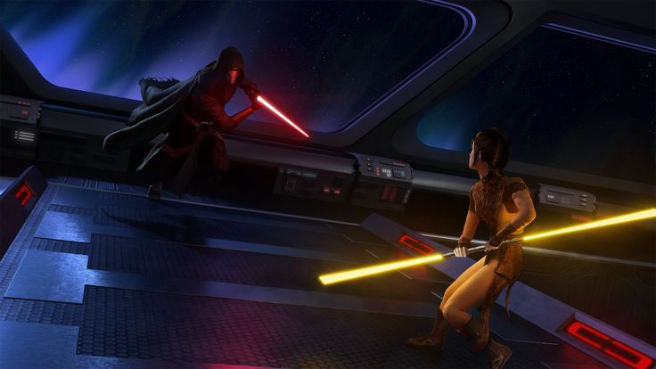 Star Wars - Darth Revan vs. Bastila Shan by thetechromancer