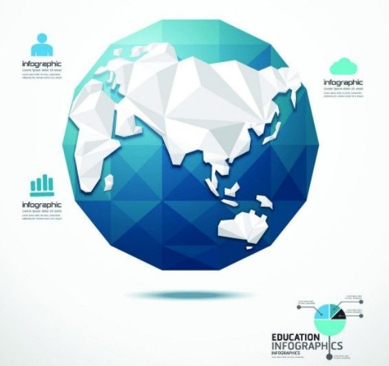 Free Low Poly Earth Education Infographic Elements Vector » TitanUI