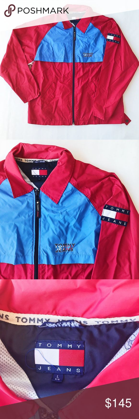 TOMMY HILFIGER VTG COLORBLOCK WINDBREAKER JACKET Vintage 90s Tommy Hilfiger Jeans Colorblock full zip Windbreaker Jacket. Men's size Large. Excellent vintage condition aside from some marks on the back. The piece features a printed tommy Jeans spellout and a Tommy jeans flag patch on the sleeve. Tommy Hilfiger Jackets & Coats