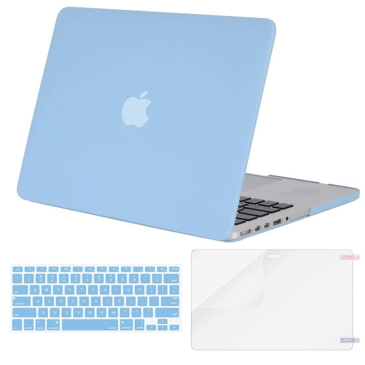 MOSISO Case Only Compatible MacBook Pro (W/O USB-C) Retina 13 Inch (A1502/A1425)(W/O CD-ROM) Release 2015/2014/2013/end 2012 Plastic Hard Shell & Keyboard Cover & Screen Protector, Airy Blue