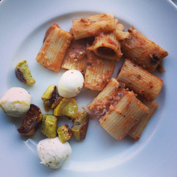 Rigatoni with pureed eggplant (Smitten Kitchen), roasted summer squash ...