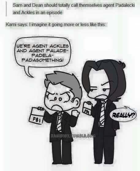 Sam & Dean using agent Padalecki & Ackles xD (this needs to happen!)