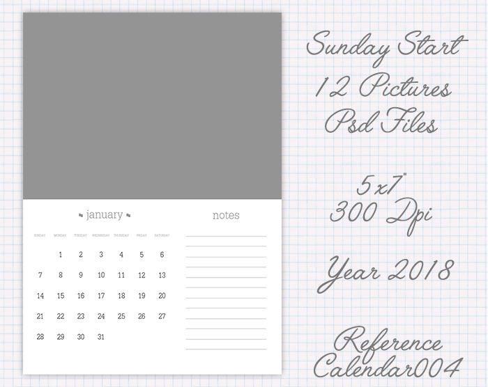 Plantilla calendario año 2018 5X7 pulgadas versión usa (12 fotos) ref calendar004 de JuanmiDesigns en Etsy
