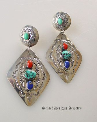 Old Pawn diamond concho & lapis turquoies coral multi stone post Earrings | | online upscale Southwestern Native American Equine jewelry gallery boutique | Schaef Designs artisan handcrafted Jewelry |New Mexico