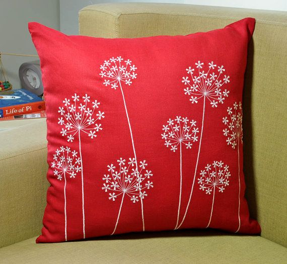 Red Pillow cover made with Red Linen Fabric and embroidered with White Queen Ann embroidery.  This pillow cover has hidden zipper at the bottom side and