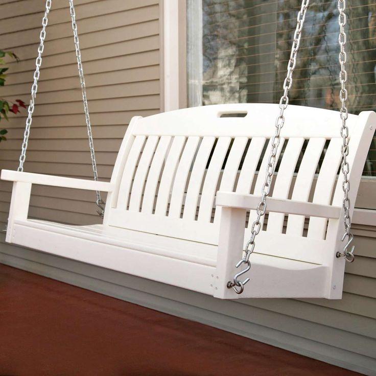 White Modern Porch Swings ~ http://www.lookmyhomes.com/modern-porch-swings-ideas/