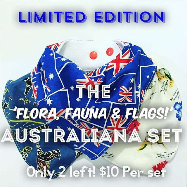 NEW LIMITED EDITION AUSTRALIANA BIBS! Only 2 left! Visit our etsy shop to buy yours now!