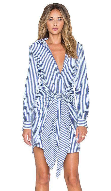 NICHOLAS Tie Front Shirt Dress in Blue & White in Blue & White Stripe | REVOLVE