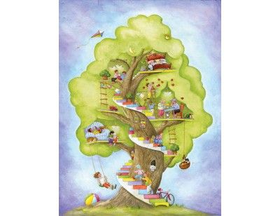 """""""My Tree House"""". A wallpaper mural from Muralunique.com. This is an original painting from Johanne Pépin. https://www.muralunique.com/my-tree-house-6-x-8-183m-x-244m.html"""