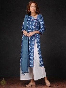 Indigo-White Natural-dyed Dabu-printed Cotton Kurta by Jaypore