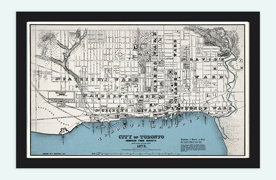 Old Map of Toronto, Ontario Canada 1897 Vintage map Toronto via Etsy