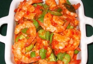 Indonesian food: spicy shrimp