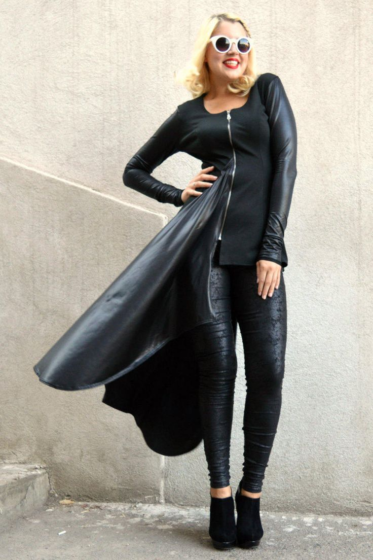 Just launched! Black Jacket,  Black Asymmetrical Tunic, Black Jersey Tunic with Metallic Italian Punto, Italian Punto Tunic TT67 by TEYXO https://www.etsy.com/listing/246371570/black-jacket-black-asymmetrical-tunic?utm_campaign=crowdfire&utm_content=crowdfire&utm_medium=social&utm_source=pinterest