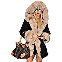 Damen Mantel mit Kunstpelz