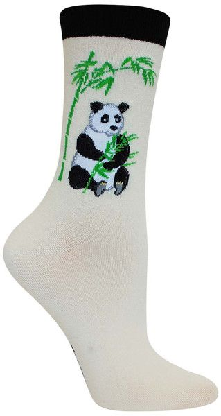 Is there anything cuter than a baby panda?! Natural cotton crew length socks  with