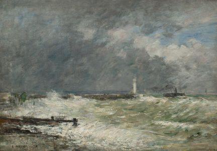 Eugène Boudin   Entrée des jetées du Havre par gros temps, 1895