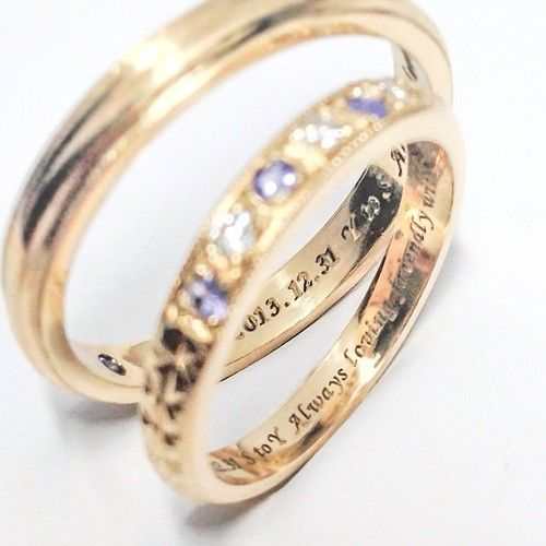 """""""Always loving friendly with your smile"""" Engraving special message with 2 lovers wedding date & names inner bands! I think people who sees this rings can imagine their love & precious thoughts for..."""