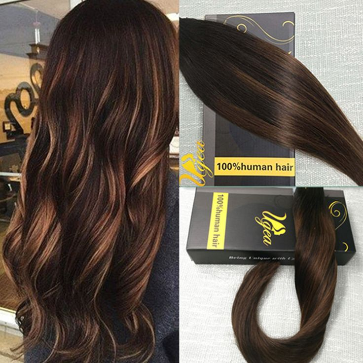Seamless Tape in Human Hair Extensions Balayage Remy Real Ombre Brown Hair Hot #Ugea
