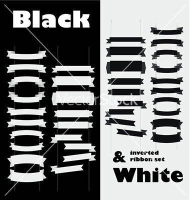 Black and white inverted ribbon set vector Black and White Inverted Ribbon set easy to use, for media, web, print