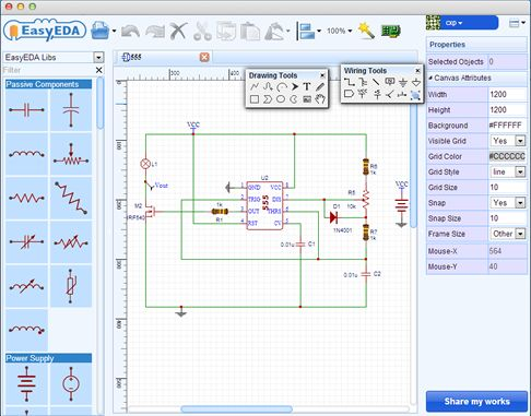 Another news received from our submit channel: EasyEDA launched their free, zero-install Web and Cloud based EDA tool suite, designed to give electrical engineers, educators, engineering students and electronics hobbyists an Easier EDA Experience.  EasyEDA - Web-Based EDA, schematic capture, spice circuit simulationand PCB layout Online.