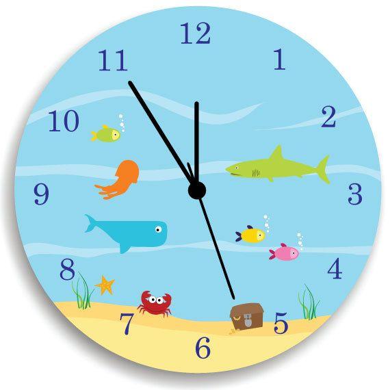 Kids Wall Clock  Children Room Decor Life Under the Sea WALL CLOCK for Boys  Bedroom. 17 best ideas about Kids Wall Clocks on Pinterest   Happy shark