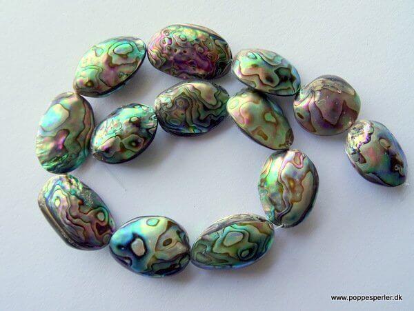 Streng – 13 så lækre kæmpe abelone, paua shell perler ca 33x20x10 mm, varierer i str