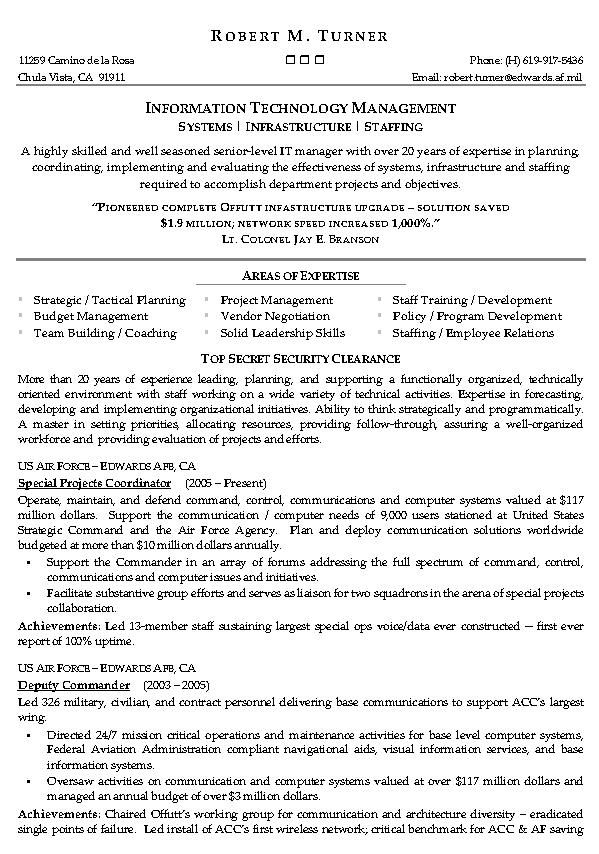 information technology management resume 1