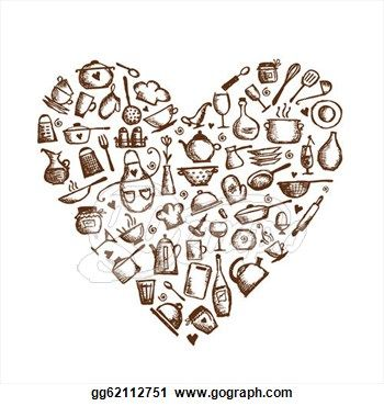 I love cooking! Kitchen utensils sketch, heart shape for your design