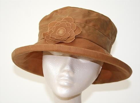 Rain Hat, waxed cotton in Gold - Wet and windy weather?  Bring it on! Made in UK!