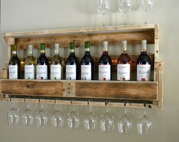 Rustic Wine Rack, Father's Day Gift, Reclaimed Wood, Rustic Decor, Country Home Decor, Pallet Wine Rack, Gifts For Dad, Wooden Shelf, Wine
