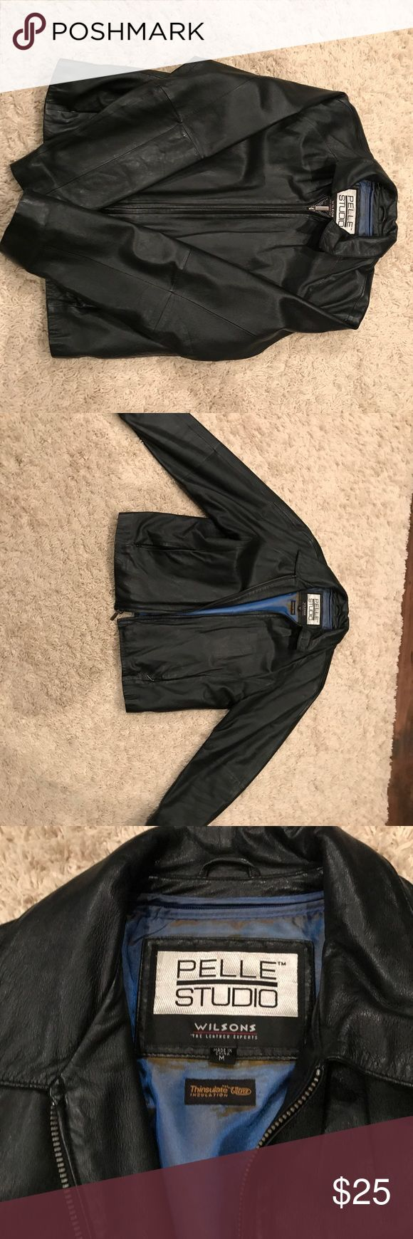 Wilsons leather mens M leather jacket pelle studio EUC Wilsons leather Pelle Studio men's medium black leather jacket. Very soft! Excellent condition! Only worn a few times on special occasions. Pelle Studio Jackets & Coats