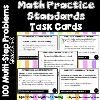 Math Practice Standards Task Cards (Algebra and Expressions)Math Practice Standards Task Cards is one of two sets of multi-step problems that are created to address the Mathematical Practice Standards. Each of the 100 cards has two steps that are aligned to one Mathematical Practice Standard.