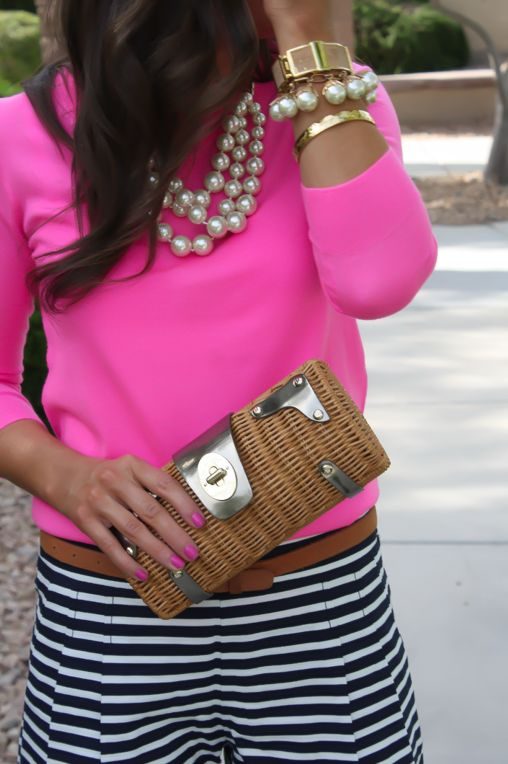 J.Crew Factory : Striped Shorts (last seen here) / J.Crew : Pink Sweater, similar here / Banana Republic : Wedges, similar here / J.Crew : P...